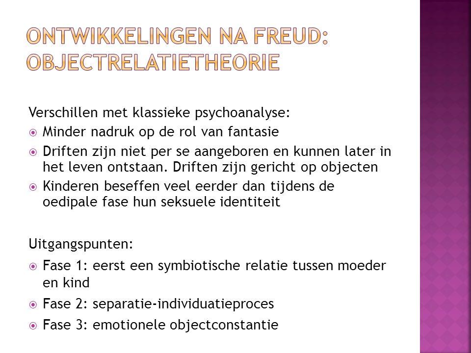 Ontwikkelingen na Freud: objectrelatietheorie
