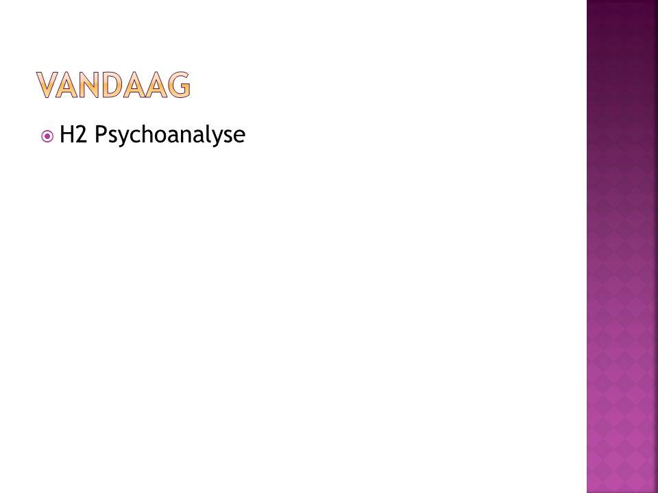 Vandaag H2 Psychoanalyse