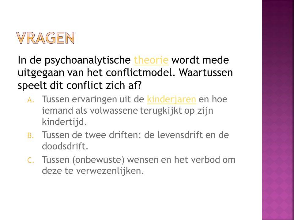Vragen In de psychoanalytische theorie wordt mede uitgegaan van het conflictmodel. Waartussen speelt dit conflict zich af