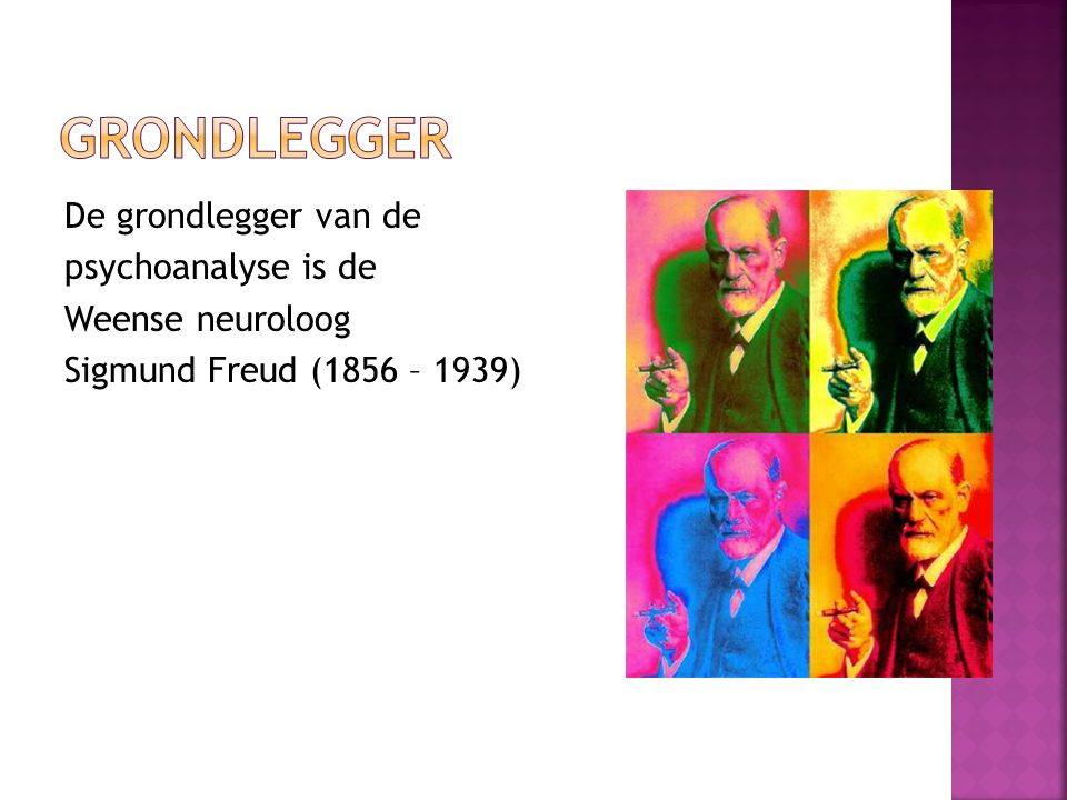 Grondlegger De grondlegger van de psychoanalyse is de Weense neuroloog Sigmund Freud (1856 – 1939)