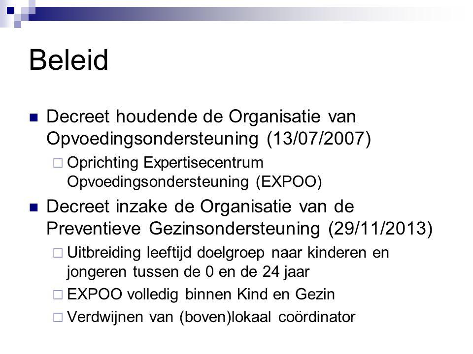 Beleid Decreet houdende de Organisatie van Opvoedingsondersteuning (13/07/2007) Oprichting Expertisecentrum Opvoedingsondersteuning (EXPOO)
