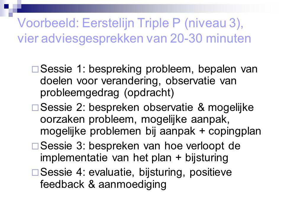 Voorbeeld: Eerstelijn Triple P (niveau 3), vier adviesgesprekken van 20-30 minuten