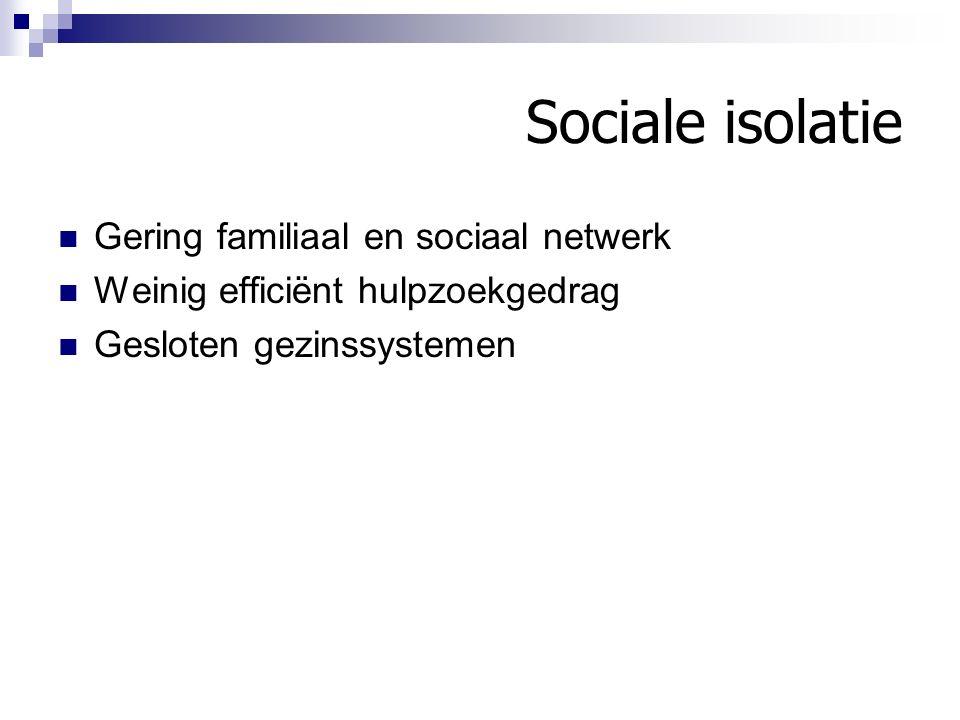 Sociale isolatie Gering familiaal en sociaal netwerk
