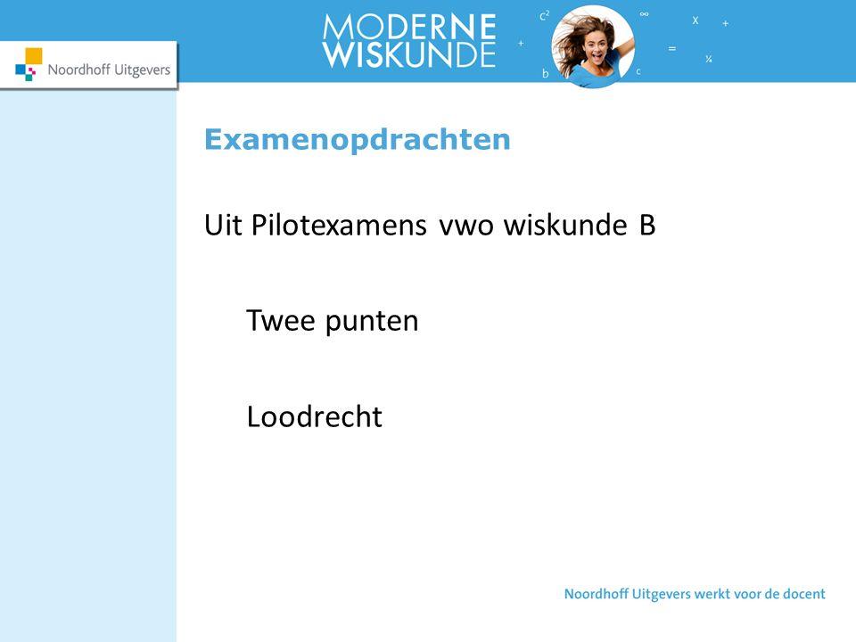 Uit Pilotexamens vwo wiskunde B Twee punten Loodrecht