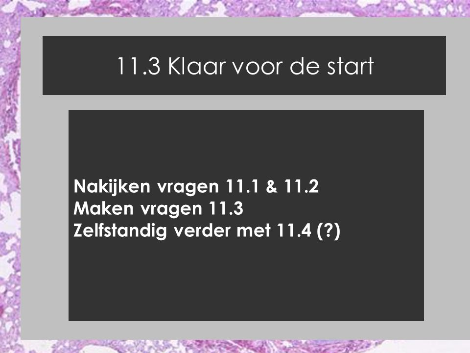 11.3 Klaar voor de start Nakijken vragen 11.1 & 11.2 Maken vragen 11.3