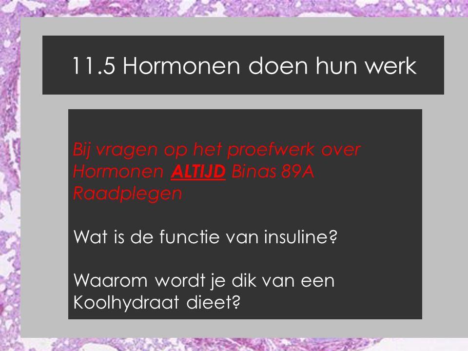 11.5 Hormonen doen hun werk Bij vragen op het proefwerk over