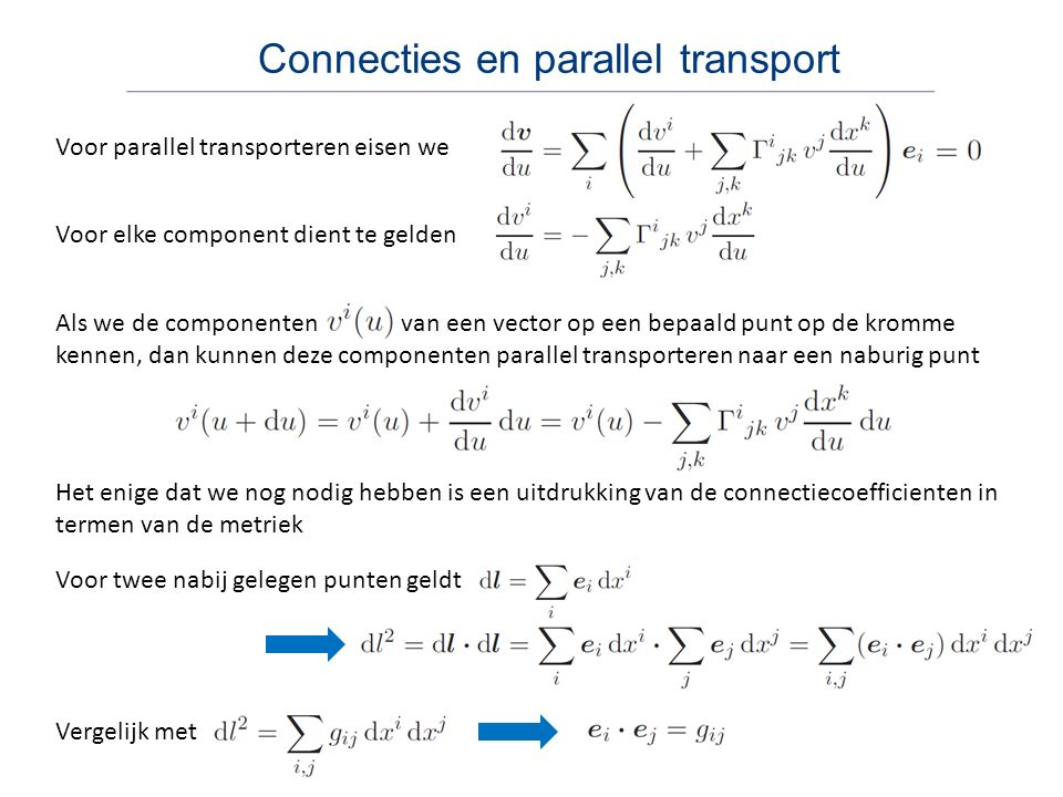 Connecties en parallel transport