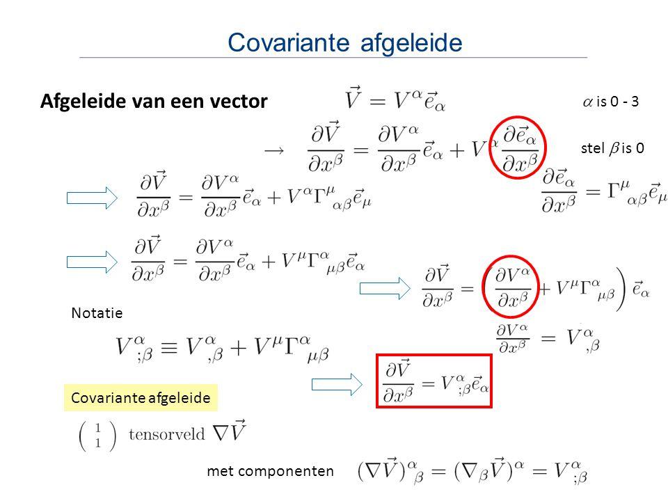 Covariante afgeleide Afgeleide van een vector a is 0 - 3 stel b is 0