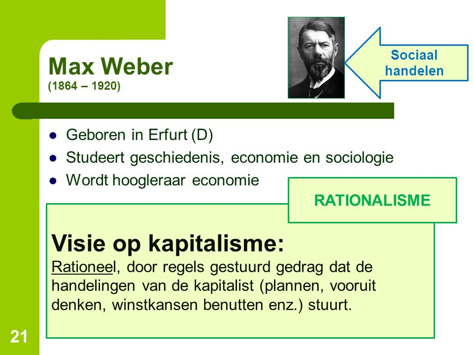 Max Weber (1864 – 1920) Visie op kapitalisme: Geboren in Erfurt (D)