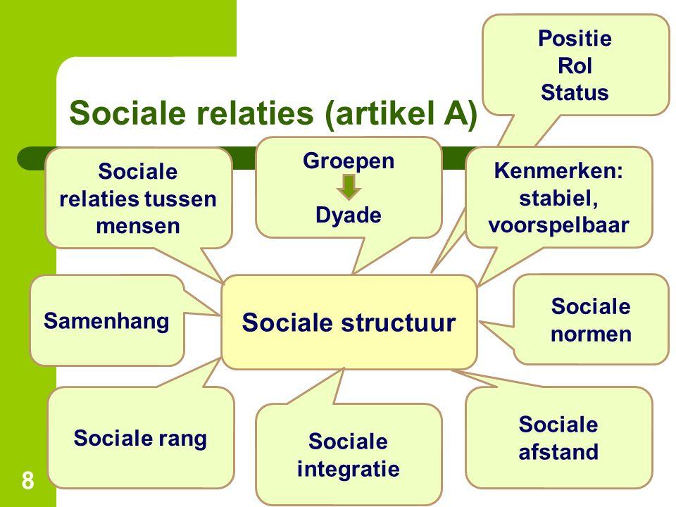 Sociale relaties (artikel A)