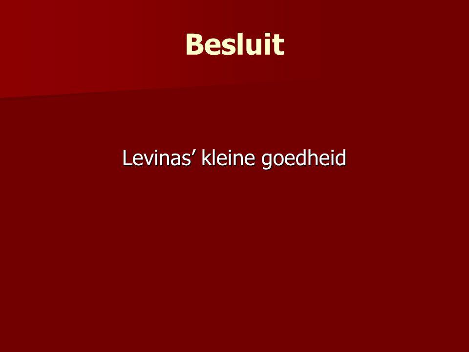 Levinas' kleine goedheid