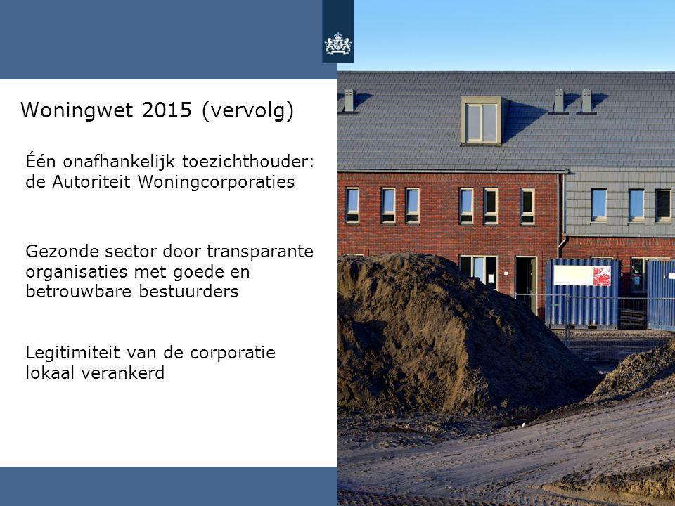 Woningwet 2015 (vervolg) Één onafhankelijk toezichthouder: de Autoriteit Woningcorporaties.