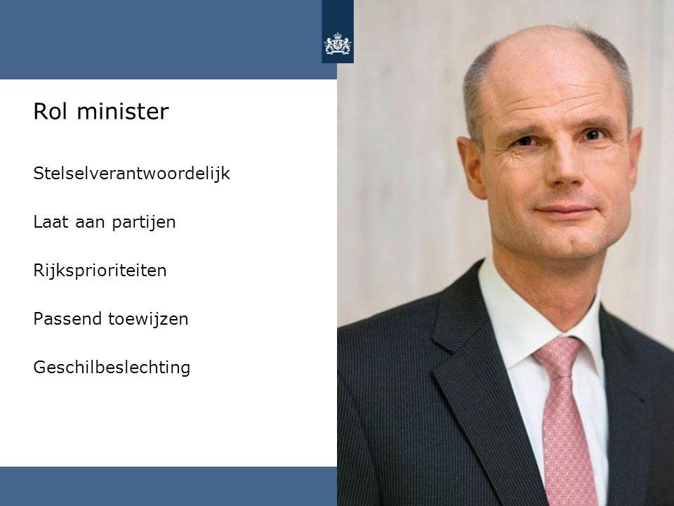 Rol minister Stelselverantwoordelijk Laat aan partijen
