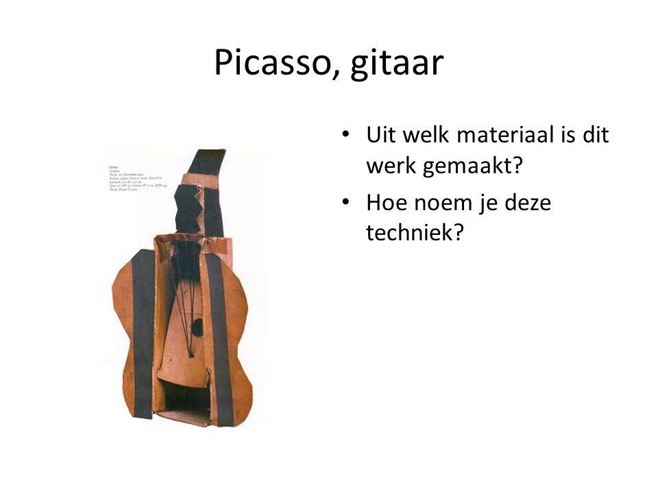 Picasso, gitaar Uit welk materiaal is dit werk gemaakt