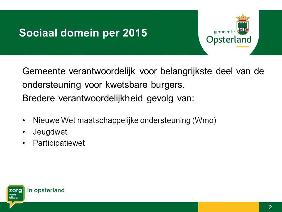 Sociaal domein per 2015 Gemeente verantwoordelijk voor belangrijkste deel van de. ondersteuning voor kwetsbare burgers.