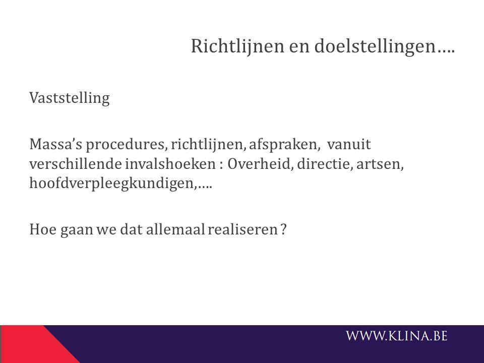 Richtlijnen en doelstellingen….