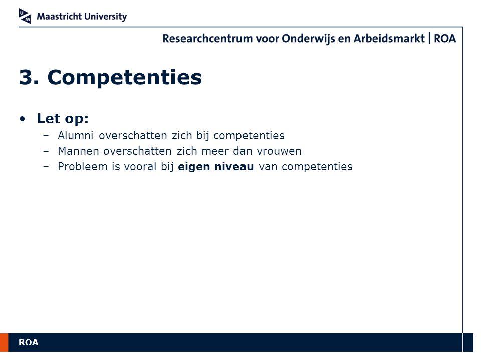 3. Competenties Let op: Alumni overschatten zich bij competenties