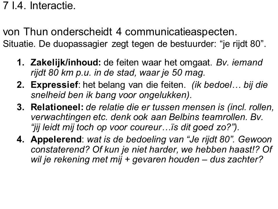 7 I. 4. Interactie. von Thun onderscheidt 4 communicatieaspecten