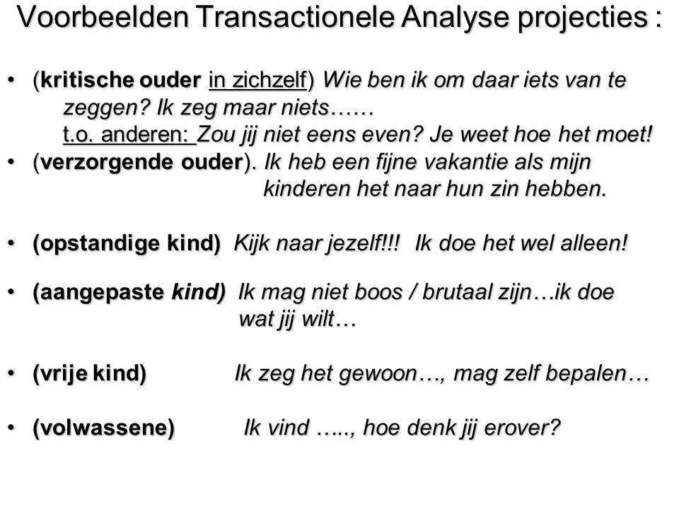 Voorbeelden Transactionele Analyse projecties :