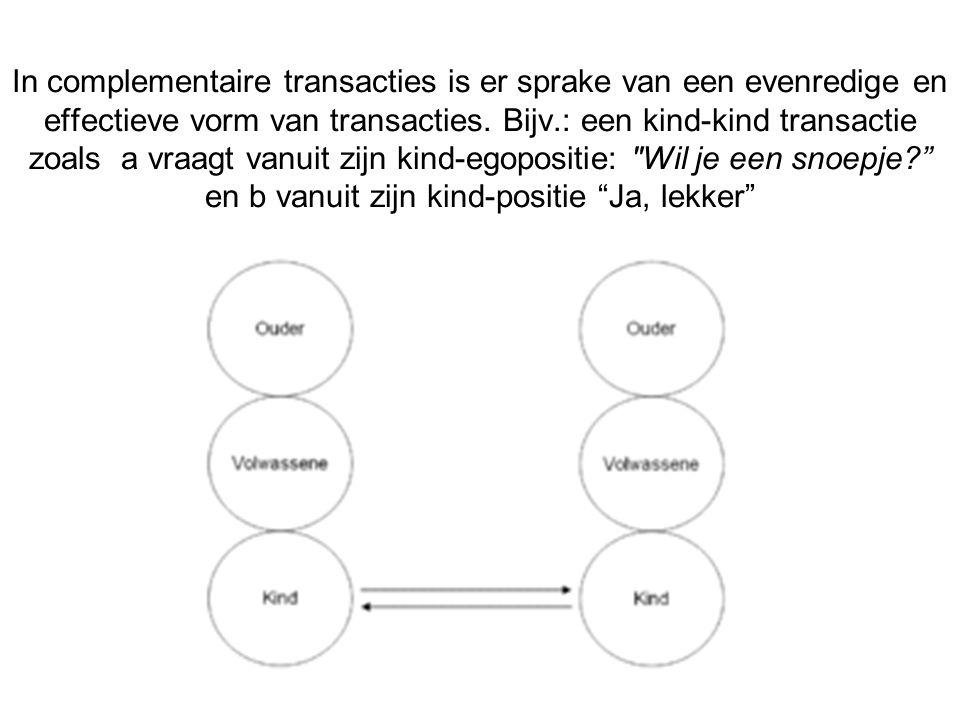 In complementaire transacties is er sprake van een evenredige en effectieve vorm van transacties. Bijv.: een kind-kind transactie zoals a vraagt vanuit zijn kind-egopositie: Wil je een snoepje en b vanuit zijn kind-positie Ja, lekker
