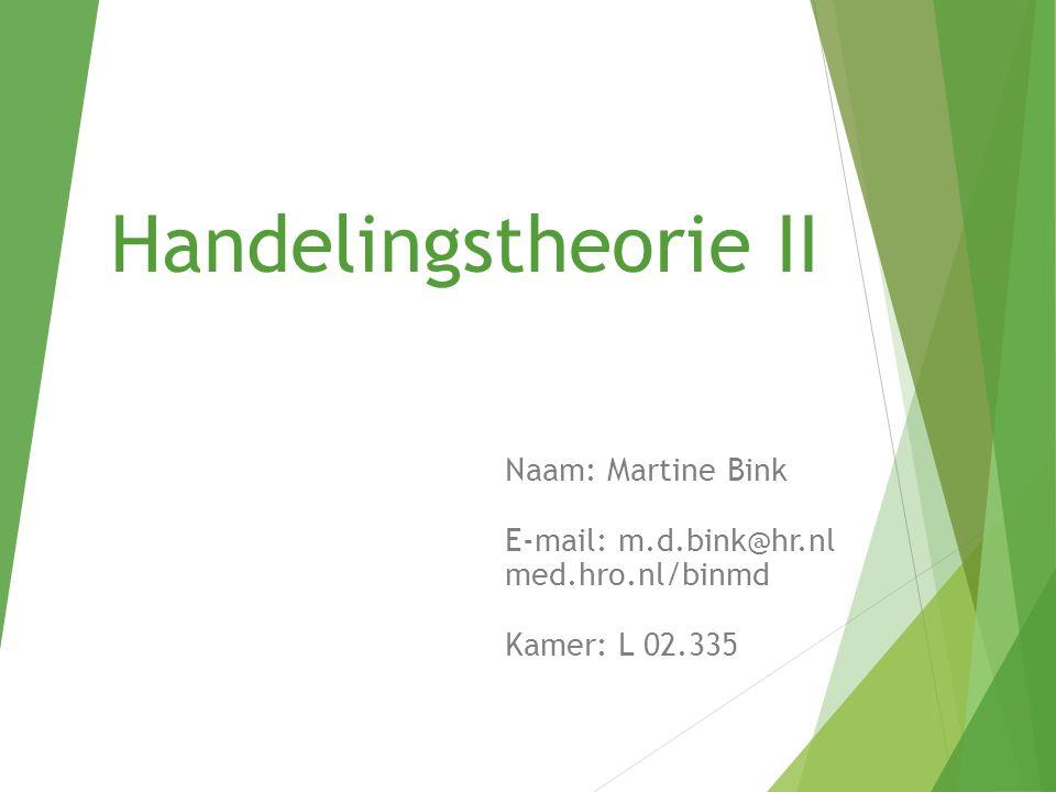 Handelingstheorie II Naam: Martine Bink E-mail: m.d.bink@hr.nl