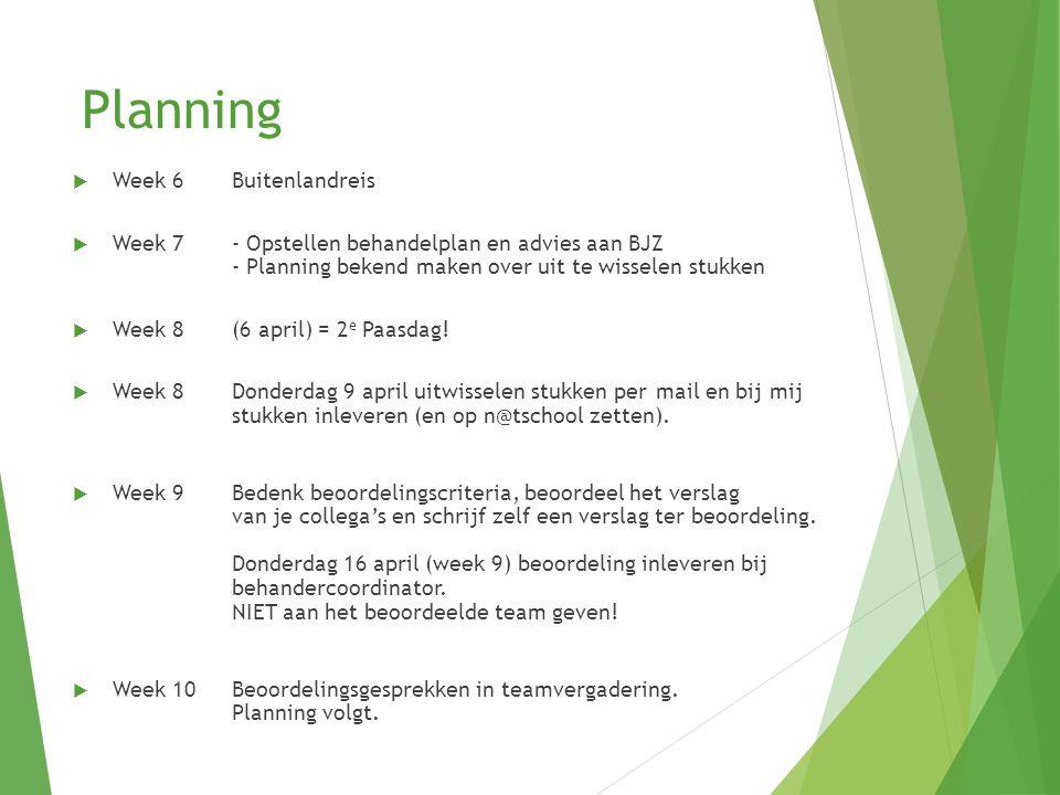 Planning Week 6 Buitenlandreis