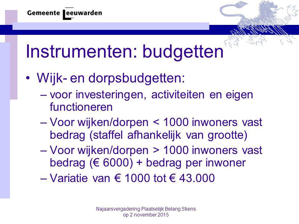 Instrumenten: budgetten