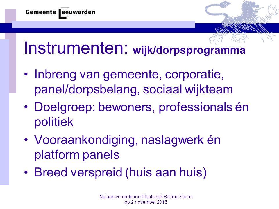Instrumenten: wijk/dorpsprogramma