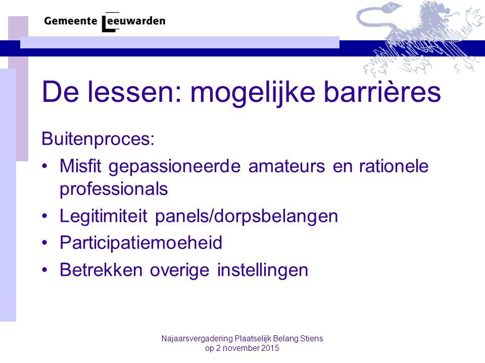De lessen: mogelijke barrières