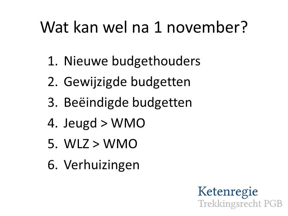 Wat kan wel na 1 november Nieuwe budgethouders Gewijzigde budgetten