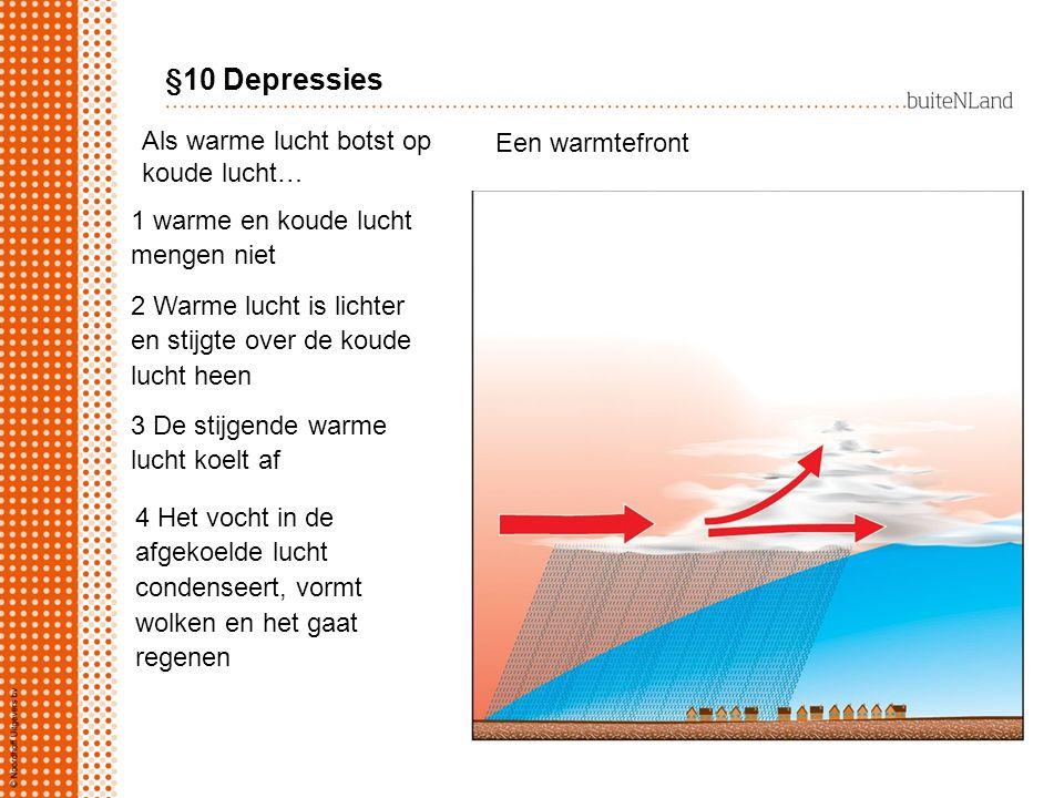 §10 Depressies Als warme lucht botst op Een warmtefront koude lucht…