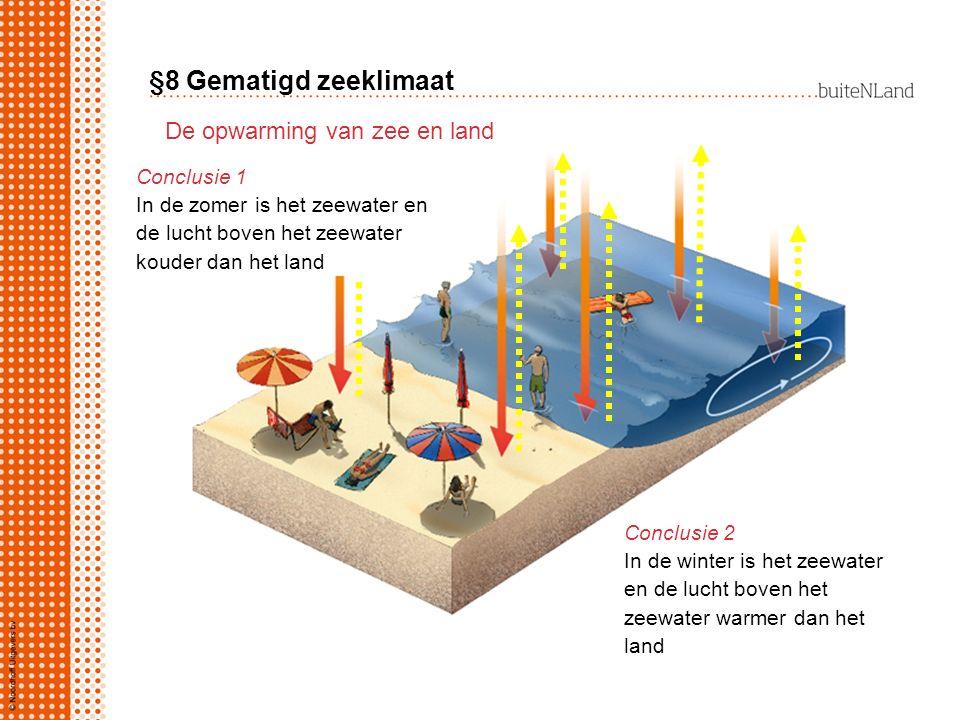 §8 Gematigd zeeklimaat De opwarming van zee en land Conclusie 1