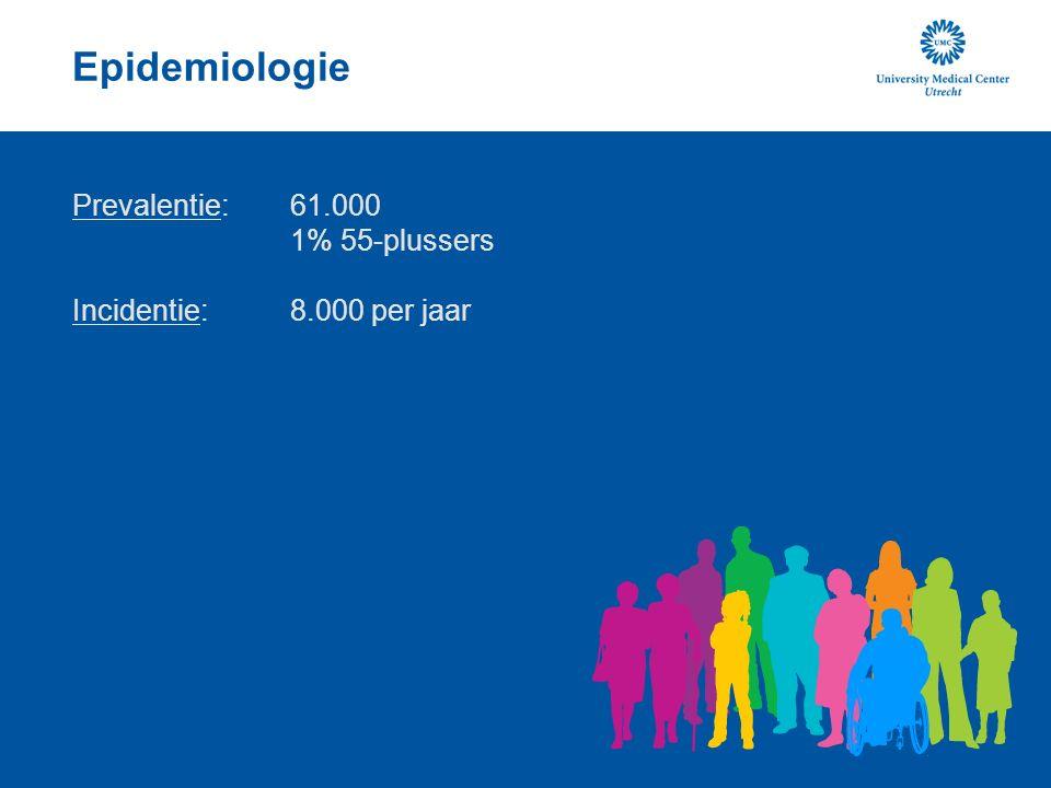 Epidemiologie Prevalentie: 61.000 1% 55-plussers