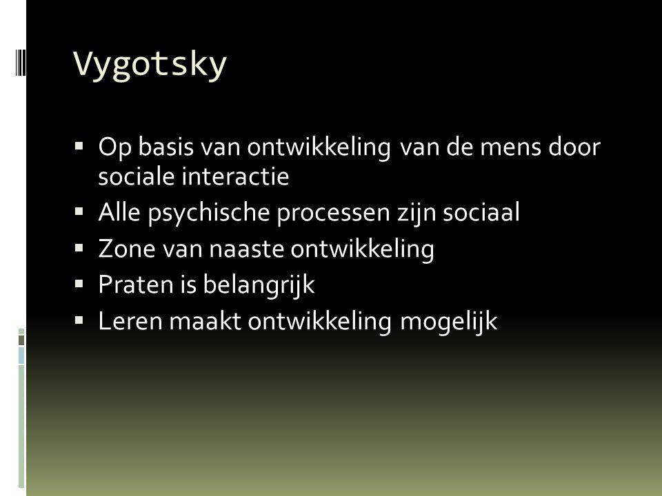 Vygotsky Op basis van ontwikkeling van de mens door sociale interactie
