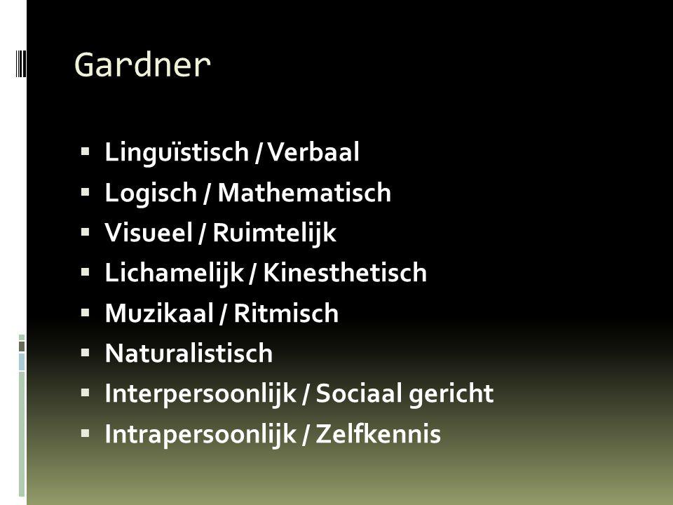 Gardner Linguïstisch / Verbaal Logisch / Mathematisch