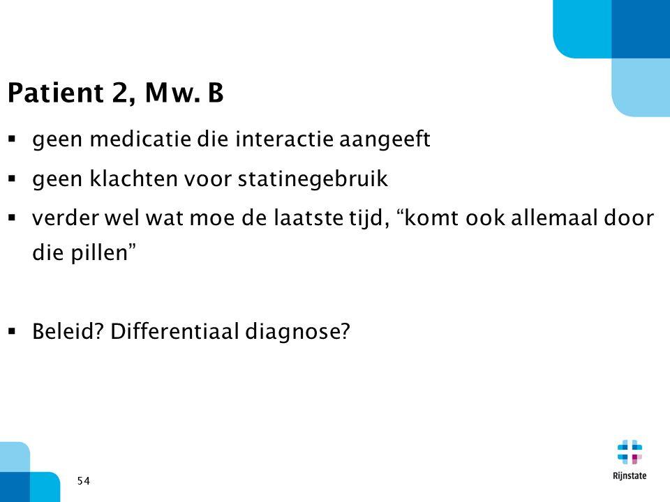 Patient 2, Mw. B geen medicatie die interactie aangeeft