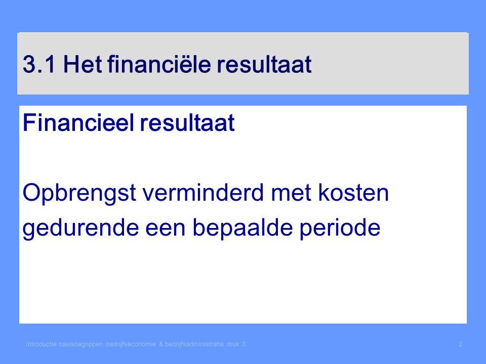 3.1 Het financiële resultaat