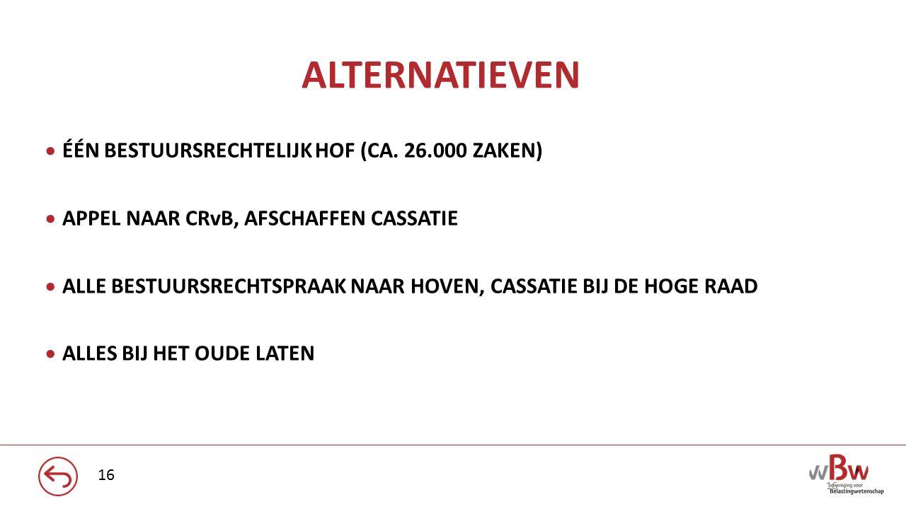 ALTERNATIEVEN ÉÉN BESTUURSRECHTELIJK HOF (CA. 26.000 ZAKEN)
