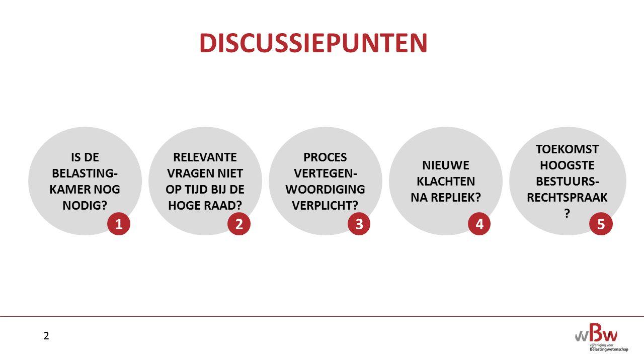 DISCUSSIEPUNTEN 1 2 3 4 5 IS DE BELASTING-KAMER NOG NODIG