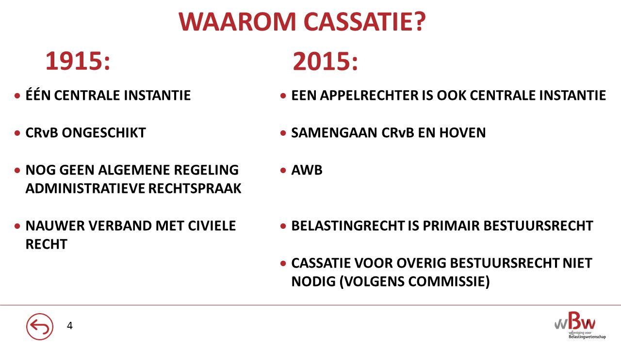 WAAROM CASSATIE 2015: 1915: ÉÉN CENTRALE INSTANTIE CRvB ONGESCHIKT