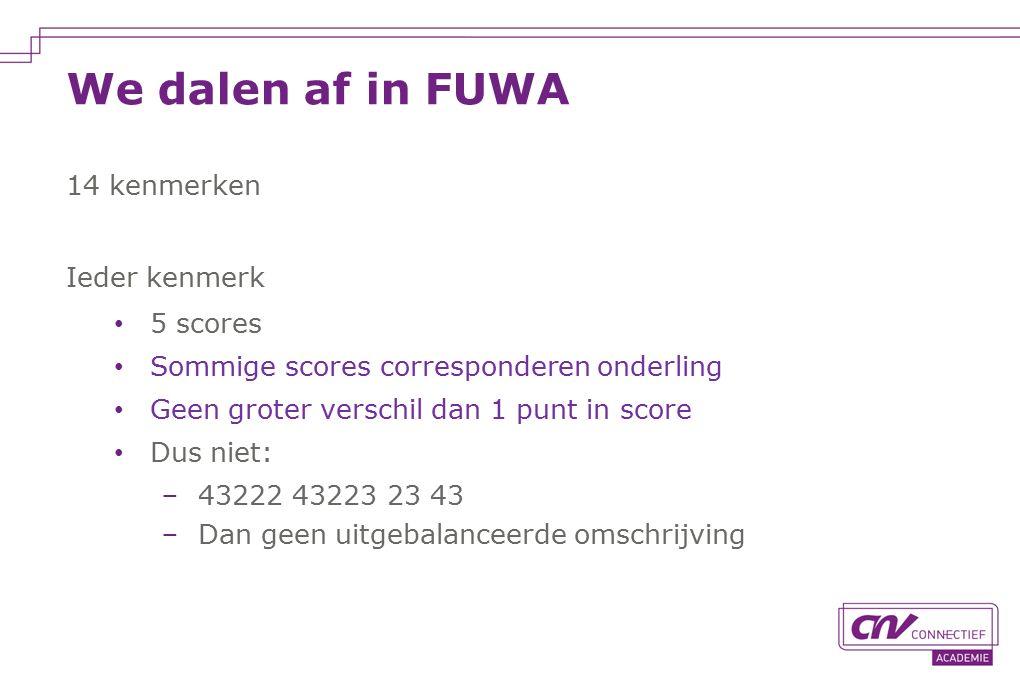 We dalen af in FUWA 14 kenmerken Ieder kenmerk 5 scores