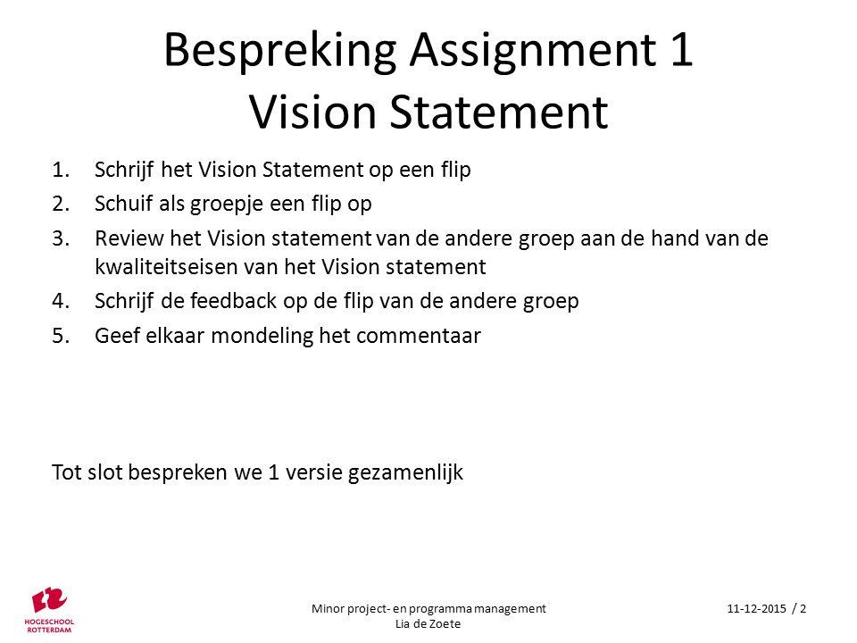 Bespreking Assignment 1 Vision Statement