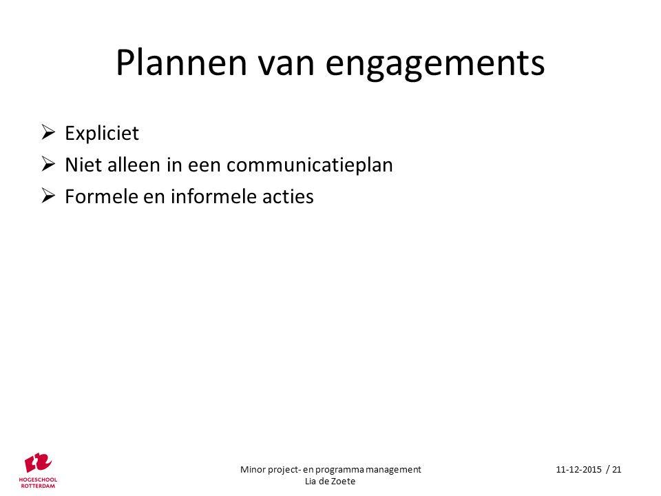 Plannen van engagements