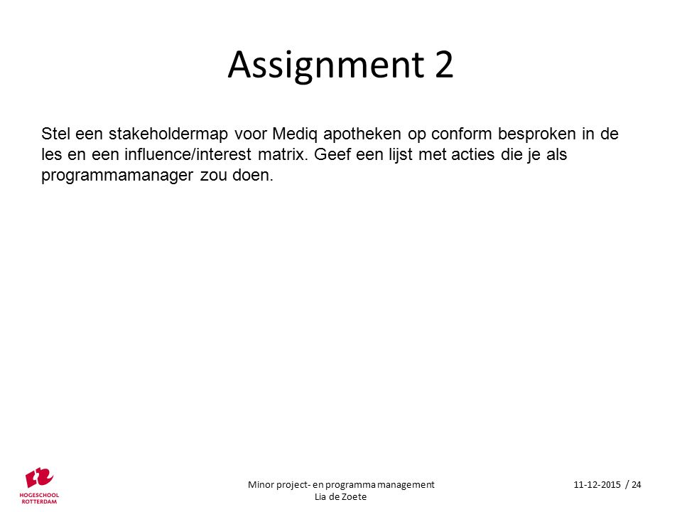 Minor project- en programma management