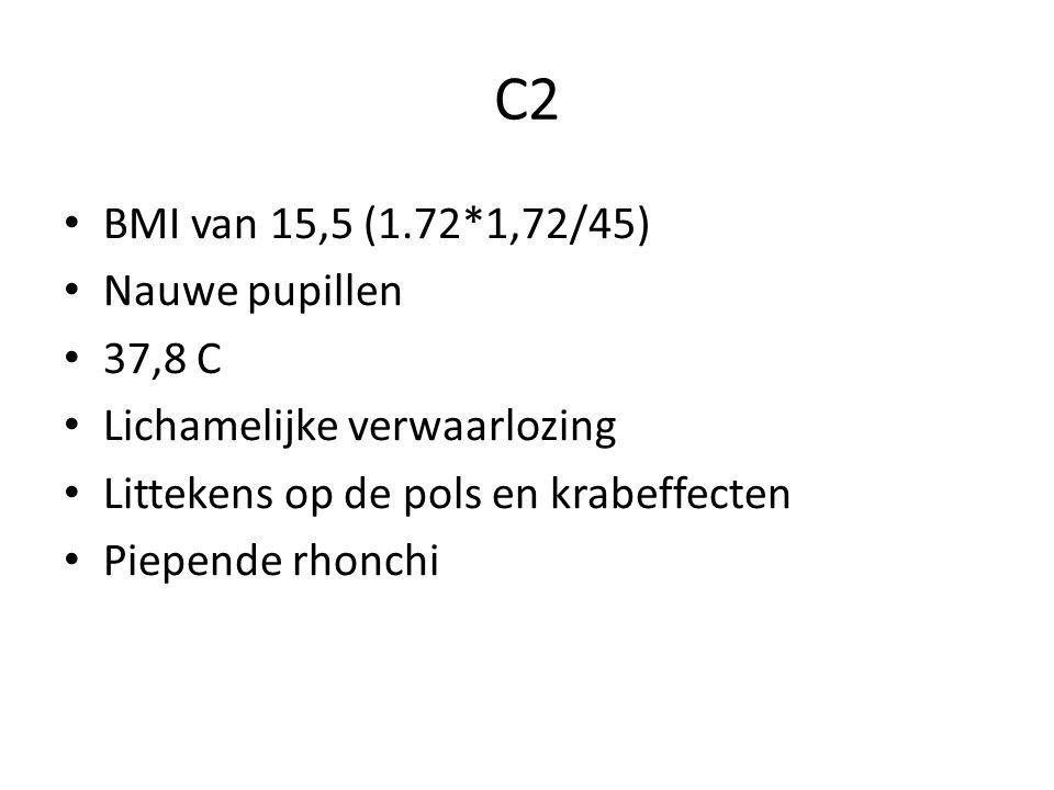 C2 BMI van 15,5 (1.72*1,72/45) Nauwe pupillen 37,8 C