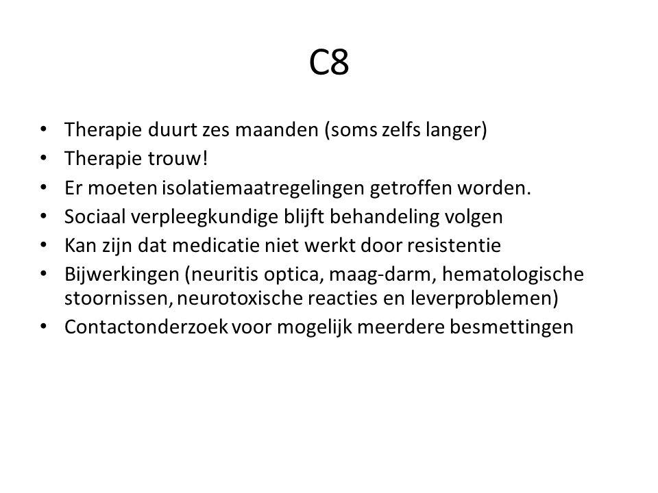 C8 Therapie duurt zes maanden (soms zelfs langer) Therapie trouw!