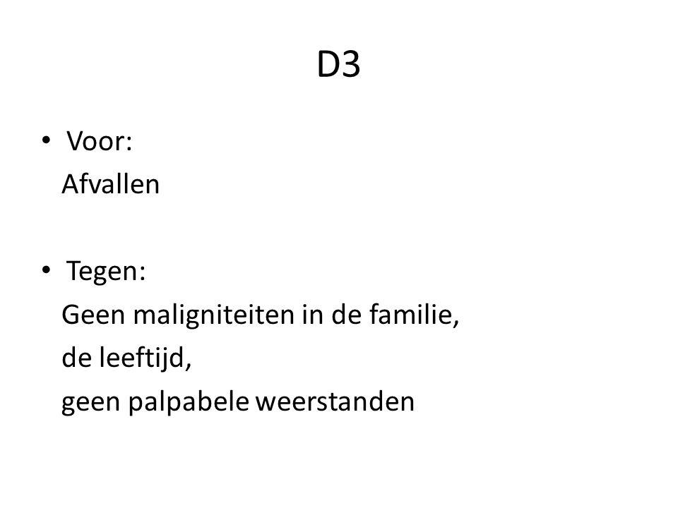D3 Voor: Afvallen Tegen: Geen maligniteiten in de familie,