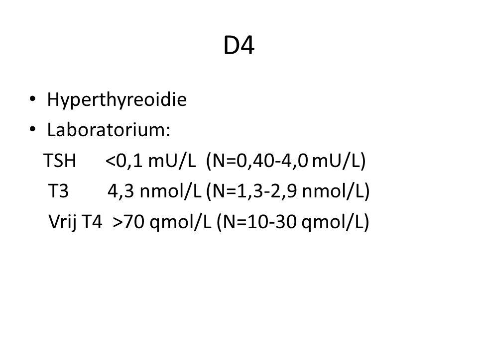 D4 Hyperthyreoidie Laboratorium: TSH <0,1 mU/L (N=0,40-4,0 mU/L)