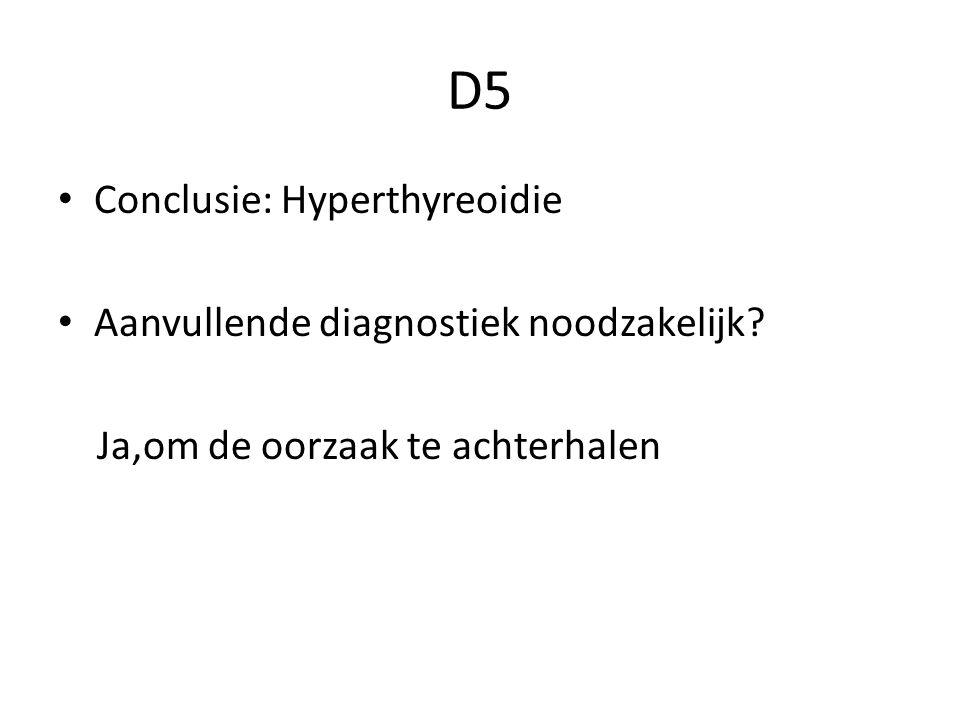 D5 Conclusie: Hyperthyreoidie Aanvullende diagnostiek noodzakelijk