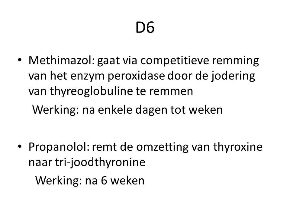 D6 Methimazol: gaat via competitieve remming van het enzym peroxidase door de jodering van thyreoglobuline te remmen.